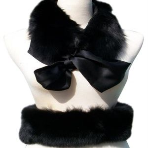 Cache Black Fox Fur Collar Top Pant Capelet Belt